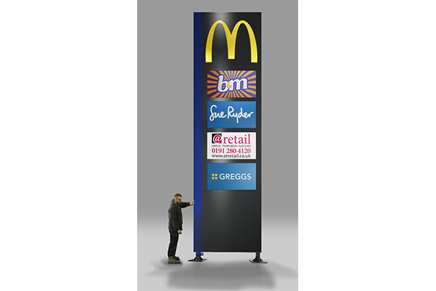 A finished McDonald's monolith sign featuring b&m, Sue Ryder, @retail and Greggs